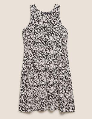 Jersey Printed Round Neck Swing Dress