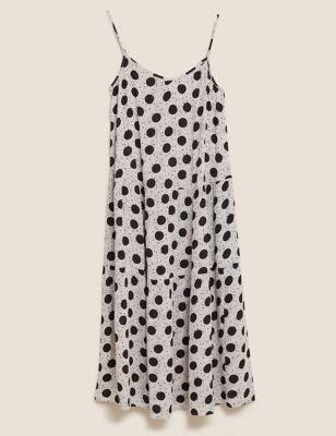 Polka Dot V Neck Midi Tiered Dress