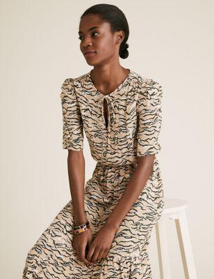 Animal Print Tie Neck Midi Waisted Dress