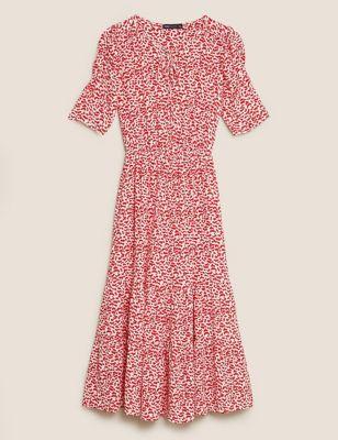 Printed Tie Neck Midi Waisted Dress
