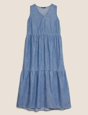 Pure Tencel™ V-Neck Midaxi Tiered Dress
