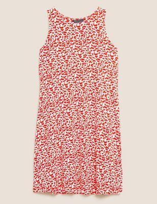 Jersey Animal Print Mini Swing Dress