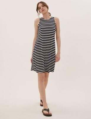Jersey Striped Mini Swing Dress