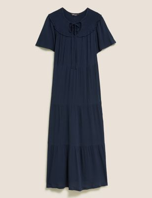 Tie Neck Midaxi Smock Dress