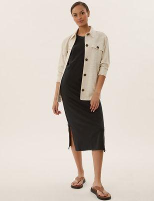 Pure Cotton Sleeveless Midi T-Shirt Dress