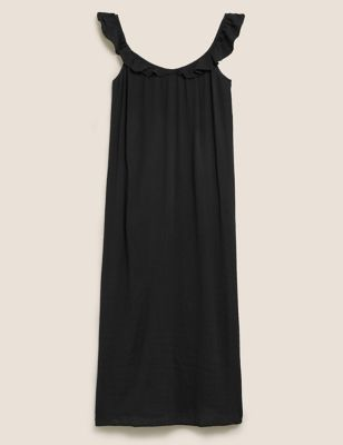 V-Neck Frill Detail Midi Slip Dress