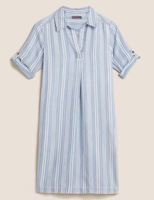 Pure Tencel™ Striped Collared Shift Dress