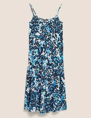 Animal Print Round Neck Midaxi Slip Dress