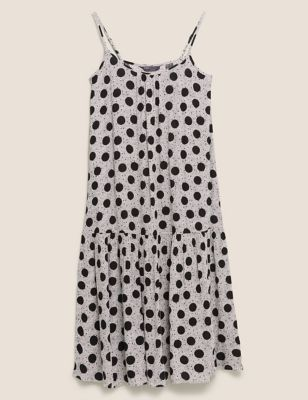 Polka Dot Round Neck Midaxi Slip Dress