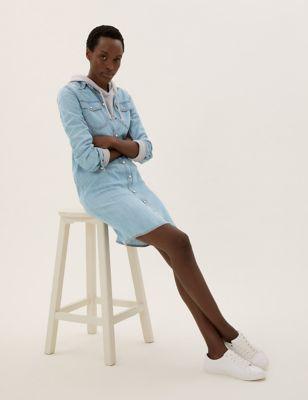 Tencel™ Denim Collared Shift Dress