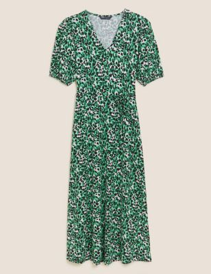 Jersey Animal Print Midi Tea Dress