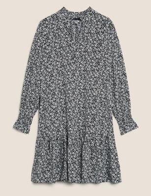 Floral Frill Detail Mini Tiered Dress