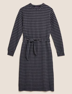 Checked Belted Midi Shift Dress