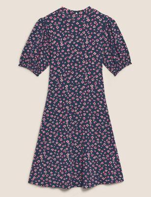 Jersey Floral Round Neck Mini Tea Dress