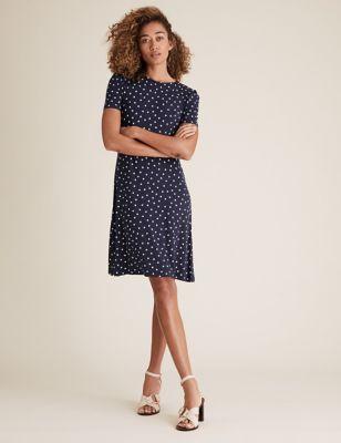 Jersey Spot Print Knee Length Swing Dress