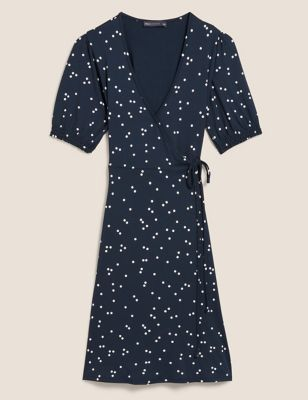 Jersey Polka Dot V-Neck Mini Wrap Dress