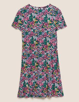Jersey Ditsy Floral Mini Swing Dress