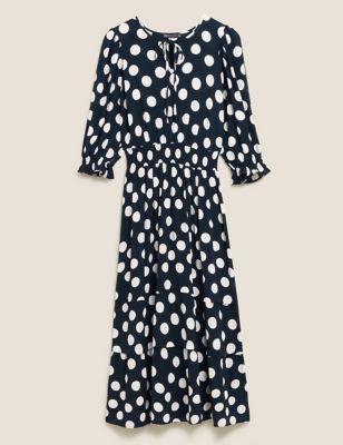 Polka Dot Puff Sleeve Midi Waisted Dress