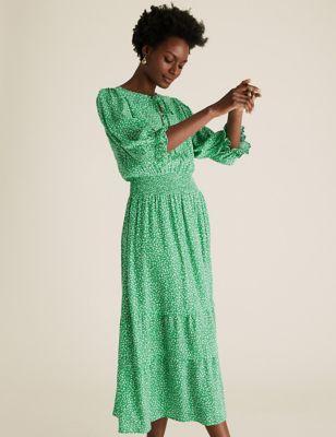 Printed Puff Sleeve Midi Waisted Dress