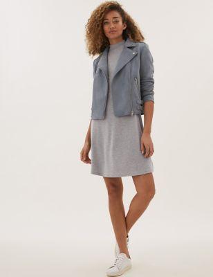 Jersey High Neck Short Sleeve Swing Dress