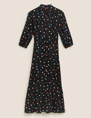 Polka Dot Tie Front Midaxi Shirt Dress