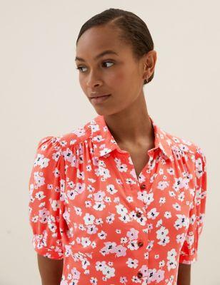 Floral Knee Length Shirt Dress