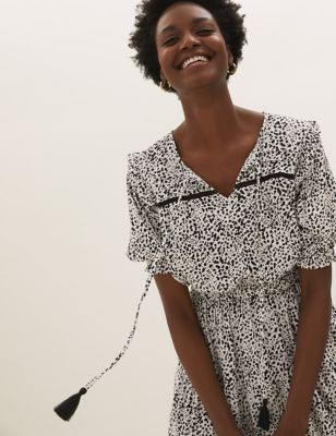 Printed Tie Neck Midaxi Waisted Dress
