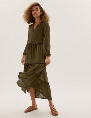 V-Neck Frill Detail Midaxi Tiered Dress