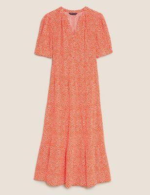 Polka Dot V-Neck Midi Tiered Dress