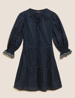 Cotton Printed Tie Neck Swing Dress
