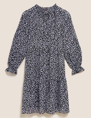 Ditsy Floral Tie Neck Swing Dress