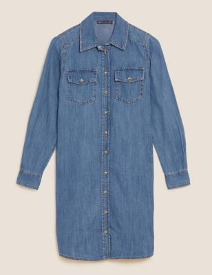 Denim Knee Length Shirt Dress