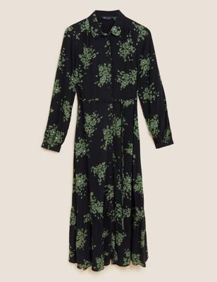 Floral Tie Waist Midaxi Shirt Dress