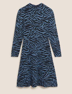 Jersey Animal Print Knee Length Swing Dress