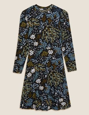 Jersey Floral Puff Sleeve Tea Dress