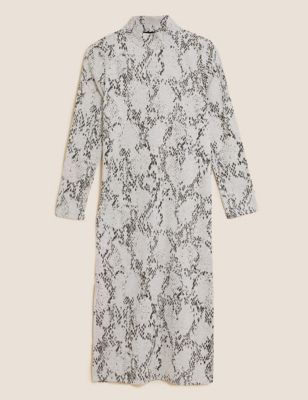 Animal Print High Neck Midi Column Dress