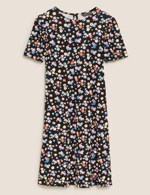 Jersey Floral Knee Length Swing Dress