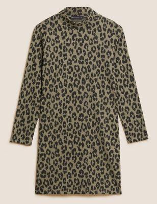 Animal Print High Neck Jumper Dress