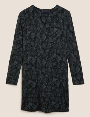 Jersey Animal Print Mini T-Shirt Dress