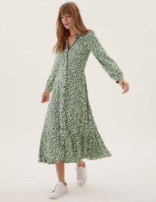 Floral Tie Front Midaxi Shirt Dress