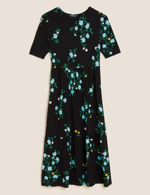 Jersey Floral Midi Tiered Dress