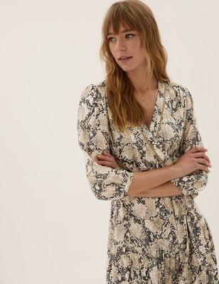 Animal Print Midi Tiered Wrap Dress