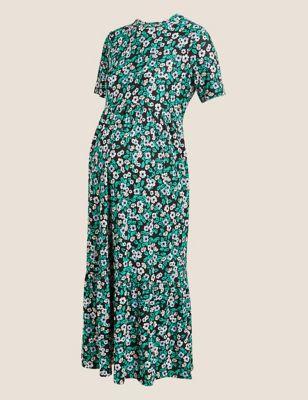Maternity Jersey Floral Midi Tiered Dress
