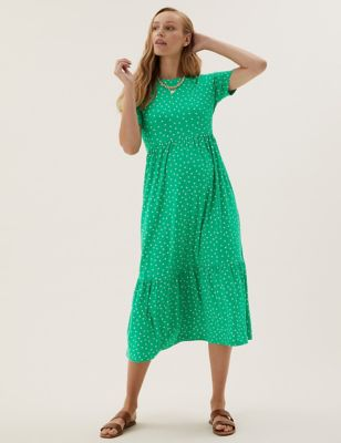 Maternity Jersey Polka Dot Tiered Dress