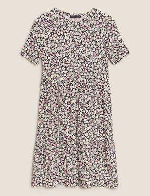 Jersey Floral Mini Tiered Dress