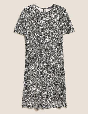 Jersey Printed Knee Length Swing Dress