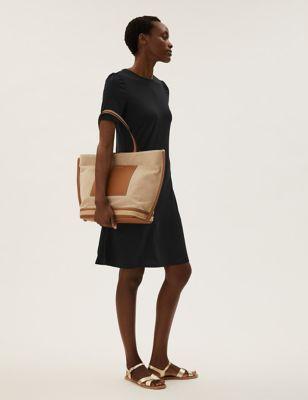 Jersey Puff Sleeve Knee Length Swing Dress