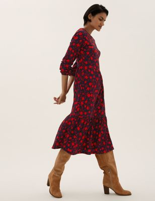 Jersey Textured Floral Midi Tiered Dress
