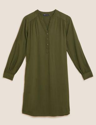 V-Neck Button Front Pintuck Shift Dress