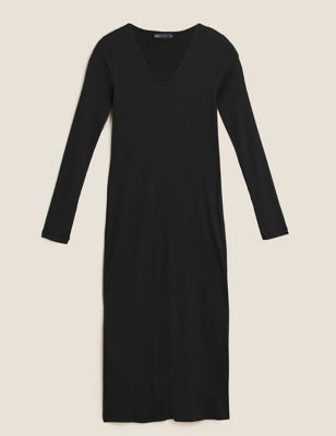 Cotton Ribbed V-Neck Midi Column Dress
